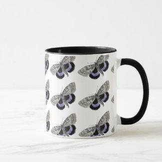 Tasse de café vintage d'art de papillon gris