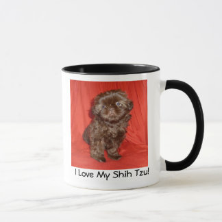 Tasse de chiot de chocolat de Shih Tzu