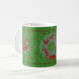 """Tasse de Noël de """"papillons et de licornes"""" (vert)"""