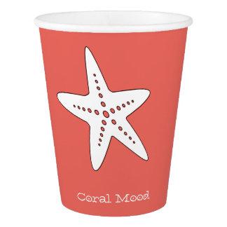 Tasse de papier d'étoiles de mer de corail gobelets en papier