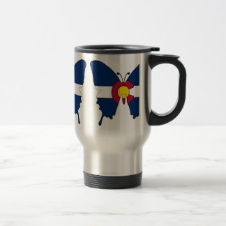 Colorado flag butterfly stainless steel travel mug