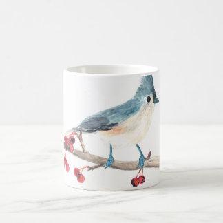 Tasse d'oiseau d'aquarelle : Mésange tuftée