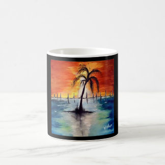 Tasse d'orange de coucher du soleil