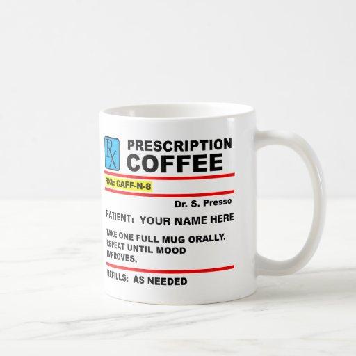 Tasse drôle de Rx de caféine de café de prescripti