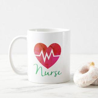 Tasse du coeur ECG d'infirmière