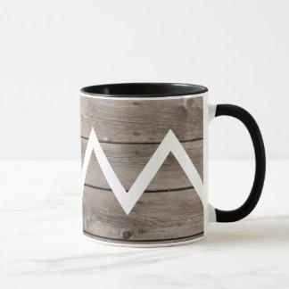 Tasse en bois antique de Chevron
