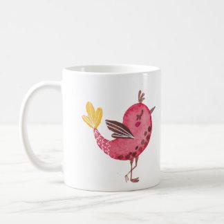 Tasse en céramique rose d'oiseau