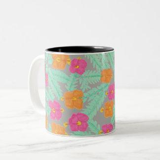 Tasse florale de jungle tropicale