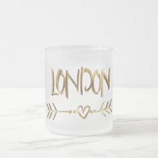 Tasse Givré Texte élégant d'amour de Londres de typographie