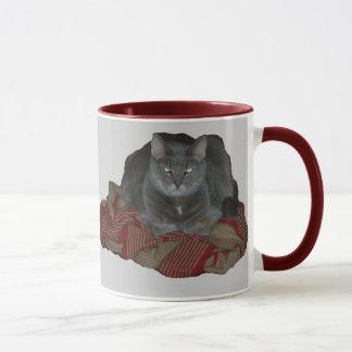 Tasse grincheuse grise de chat de Buddah