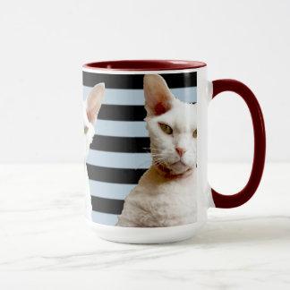 Tasse grise/noire de chat de Rex de rayure