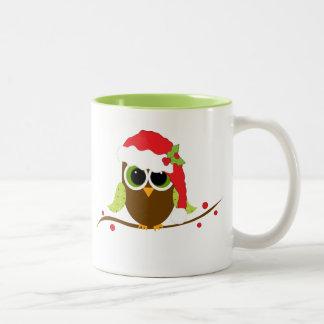 Tasse mignonne de Noël de hibou de Père Noël