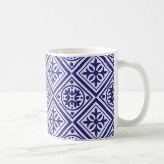 Tasse moderne d'art déco bleu et blanc