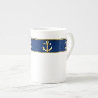 Tasse nautique de porcelaine tendre de bleu et