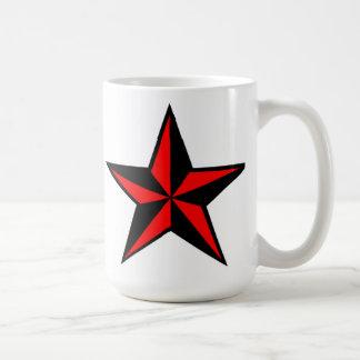 Tasse nautique rouge et noire d'étoile