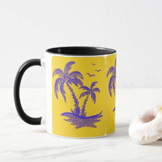 Tasse noire avec des palmiers dans Yellow&Blue