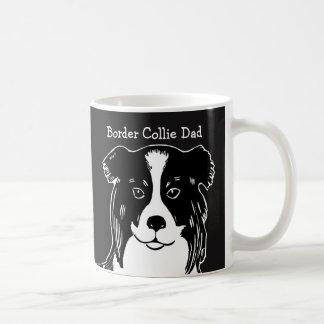 Tasse noire et blanche de papa de border collie