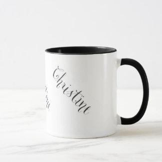 Tasse nommée de Christine en noir et blanc