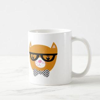 Tasse orange de chat de hippie