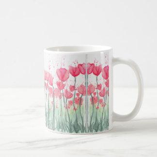 Tasse rose de miroir de tulipe d'aquarelle