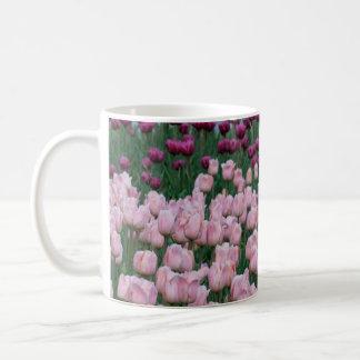 Tasse rose et pourpre de tulipes