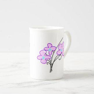 Tasse rose sensible de thé de bouquet de porcelain