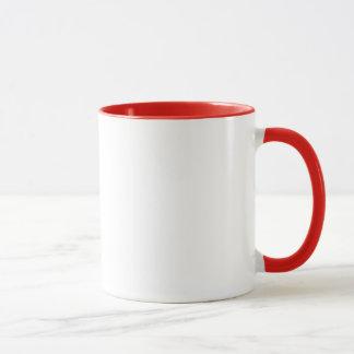 Tasse rouge d'anneau de petit déjeuner de geek