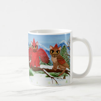 Tasse rouge d'art de chat de neige d'oiseaux