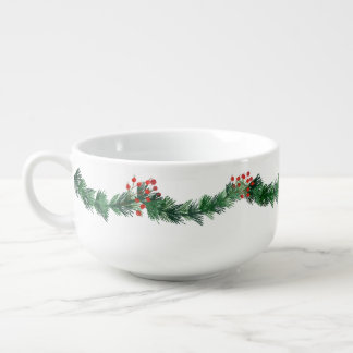 Tasse rouge de soupe à baies de Noël de Noël