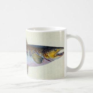 Tasse vintage de poissons de truite