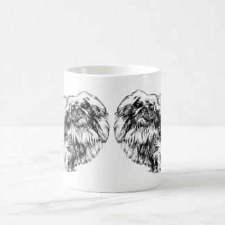 Tasse vintage d'illustration de chien de Pekingese