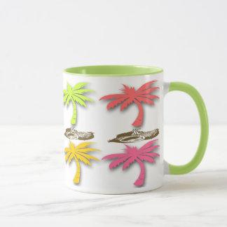 Tasses de café de motif de palmiers