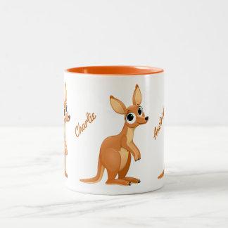 Tasses faites sur commande des textes de kangourou