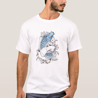 Tatouage bleu japonais oriental frais de poissons t-shirt