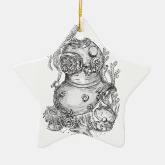 Tatouage de casque de plongée de vieille école ornement étoile en céramique