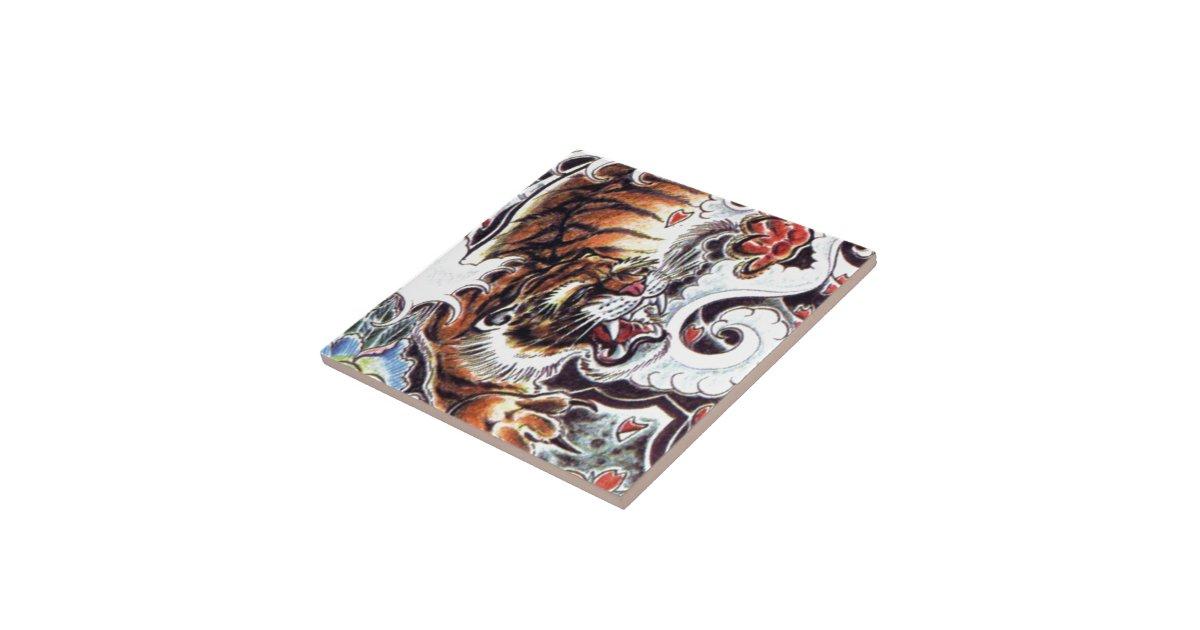 Tatouage japonais de tigre petit carreau carr zazzle - Tatouage tigre japonais ...