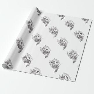 Tatouage spartiate de chapelet de bouclier d'ange papier cadeau