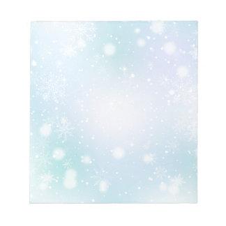 Teal chaud et flocons de neige pourpres du pays blocs notes