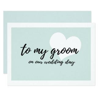 """Teal doux mignon """"à mon marié notre jour du carton d'invitation  12,7 cm x 17,78 cm"""