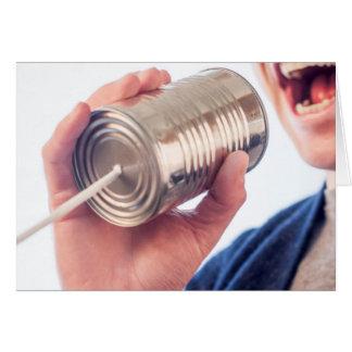 Téléphone de boîte en fer blanc - carte de voeux