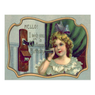 Téléphone mignon d'antiquité de petite fille carte postale