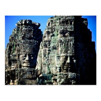 Temple de Bayon dans Angkor Cambodge deux visages Carte Postale