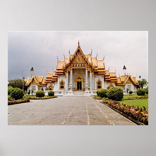 Temple de marbre d'or au-dessus d'affiche de lion