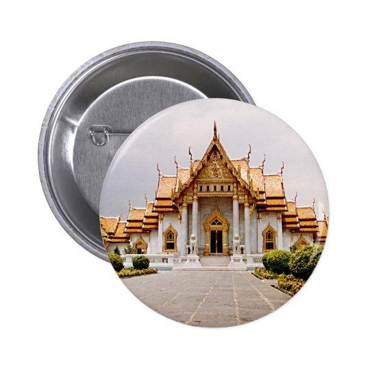 Temple de marbre d'or au-dessus d'étiquette de badge rond 5 cm