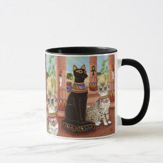 Temple de tasse d'art de chat de déesse de filasse