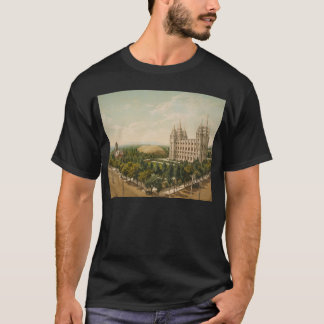 Temple Salt Lake City carré Utah en 1899 T-shirt