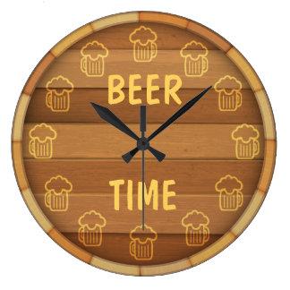 Temps de bière grande horloge ronde
