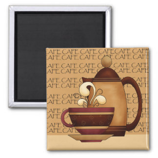 Temps de café magnet carré