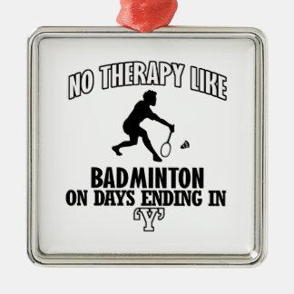 Tendre des conceptions de badminton ornement carré argenté