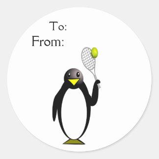 Tennis de pingouin sticker rond